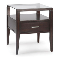 Magnussen Furniture - Rectangular End Table in Merlot Finish - Bake - 8 mm Lay on glass tops. Drawers for additional storage. Accented with brushed nickel hardware. Constructed of hardwood solids and cherry veneers. 20 in. W x 24 in. D x 24 in. HThe Baker table is constructed of hardwood solids and cherry veneers, with a glass top.