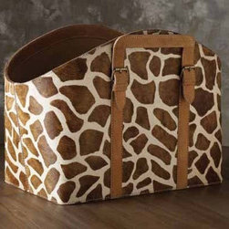 Faux Pony Giraffe Print Bin - Take storage to a whole new level of style!  This giraffe patterned bin would add whimsy to any space and would be a fun way to store magazines and books.