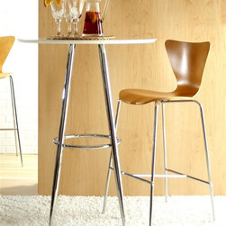Euro Style - 3 Pc Round Chrome Bravo Bar Table & 2 Stools - Sleek and streamlined with a European inspired, modern design, this three-piece table set will be perfect for casual dining or entertaining. The set is made of tubular steel in chrome colored finish and includes a bar table with a white MDF top and two contemporary stools with shaped wood veneer shells. Set includes 1 Table and 2 Stools. White lacquered veneered MDF top. Base is chromed steel. Wood veneered shell on chrome welded legs. Table: Assembly Instructions. Stools: Assembly Instructions. Table: 30 in. W x 30 in. D x 42 in. H. Stools: 20 in. W x 19 in. L x 39 in. H (12.56 lbs.), Seat Height: 30 in. H