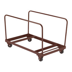 National Public Seating - National Public Seating Folding Table Dolly - Vertical Storage - Move your folding tables from room to room on National Public Seating's Edge-Stacking Round Folding Table Truck. This sturdy dolly features a two by two-inch steel frame, and carries 60-inch diameter round folding tables with a total weight capacity of 1200 pounds. Maneuver your truck through school hallways with ease using the 16-gauge steel handles and four-inch rubber casters, two of which swivel for extra control. Handles both plastic and laminate folding tables. Available in brown powder-coat finish.