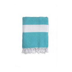 Nine Space - Herringbone Beach Wrap, Turquoise - Handwoven from pure Turkish cotton, this fouta showcases its Mediterranean roots with a distinct, herringbone weave. Foutas find new use in the modern home: as a stylish beach wrap or towel, a tablecloth or draped along the back of the couch for an instant shot of color and texture.