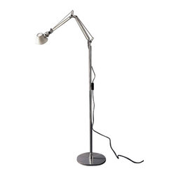 """Artemide - Artemide Tolomeo  floor lamp - The Tolomeo floor lamp from Artemide has been designed by Michele De Lucchi and Giancarlo Fassina. This floor standing luminaire is great for adjustable direct task incandescent, flourescent and LED lighting. The Tolomeo's floor support is composed of a weighted steel base with stamped aluminum cover and stem in chromed steel. Also included is an optional set of castors in molded thermoplastic that can attach to the base for easy mobility. This floor lamp comes available in three different sizes. The Tolomeo floor lamp combines superior construction and energy efficient lighting that is perfect for any environment.  Product Details:   The Tolomeo floor lamp from Artemide has been designed by Michele De Lucchi and Giancarlo Fassina. Available in three sizes, small(micro), medium(mini), and large(classic).This floor standing luminaire is great for adjustable direct task incandescent, flourescent and LED lighting. The Tolomeo's floor support is composed of a weighted steel base with stamped aluminum cover and stem in chromed steel. Also included is an optional set of castors in molded thermoplastic that can attach to the base for easy mobility. The Tolomeo floor lamp combines superior construction and energy efficient lighting that is perfect for any environment.  Details:     Manufacturer:  Artemide   Designer:  Michele De Lucchi and Giancarlo Fassina     Made in: Italy   Dimensions:   Small: Height: 17.75 """" (45 cm) X Width: 40.5 (103 cm)""""   Medium: Height: 31"""" (79 cm) X Width: 40.5"""" (103cm)   Large: Height: 35"""" (89 cm) X Width: 40.5"""" (103 cm)   Base H: 40 9/16""""(103cm)     Light bulb:   Small: 1 X 60W E26 incandescent   Medium: 1 X 100W E26 incandescent or 1 X 13W fluorescent   Large: 1 X 100W E26 incandescent or 1 X 13W fluorescent     Material:  steel, aluminum"""
