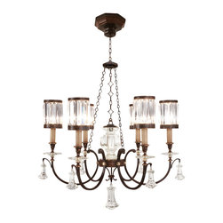 Fine Art Lamps - Eaton Place Chandelier, 584240ST - Rustic meets regal in this fixture, a noble touch for your formal setting. The earthy iron finish is the perfect companion to channel-set crystal shades and brilliant drop pendants.