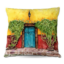 DiaNoche Designs - Pillow Woven Poplin from DiaNoche Designs by Marley Ungaro - Blue Door - Toss this decorative pillow on any bed, sofa or chair, and add personality to your chic and stylish decor. Lay your head against your new art and relax! Made of woven Poly-Poplin.  Includes a cushy supportive pillow insert, zipped inside. Dye Sublimation printing adheres the ink to the material for long life and durability. Double Sided Print, Machine Washable, Product may vary slightly from image.
