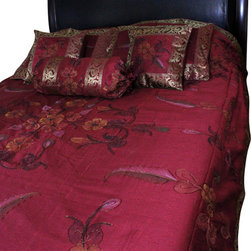 Banarsi Designs - Hand Painted Floral 7-Piece Duvet Cover Set, Saffron Red, King - Our decorative and unique 7-piece hand painted floral duvet cover set from Banarsi Designs includes: 1 duvet cover, 2 square pillow covers, 2 rectangular pillow covers, and 2 bolster pillow covers.
