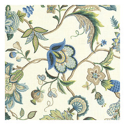 Blue Jacobean Floral Linen Fabric - Sophisticated jacobean floral in bright classic shades of blue. Perfect for the new traditionalist.Recover your chair. Upholster a wall. Create a framed piece of art. Sew your own home accent. Whatever your decorating project, Loom's gorgeous, designer fabrics by the yard are up to the challenge!