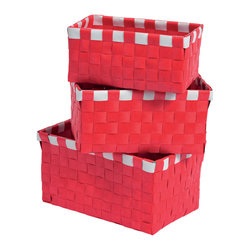 """Set of 3 Woven Strap Storage Totes Pp Red/White - This set of 3 woven strap storage totes is made of polypropylene. Perfect for your bathroom, home or office, these baskets give you a functional and stylish storage option. Wipe with a damp cloth. Small basket measures 5.90""""L X 3.54""""W X 2.76""""H, Medium basket 6.69"""" L X 4.33""""W X 3.35""""H, Large basket 7.48"""" L X 5.12""""W X 3.74""""H. Color red and white. This pretty set of woven strap tote baskets will complement your decor as well as being functional and will make a great addition to any closet or countertop! Complete your decoration with other products of the same collection. Imported."""