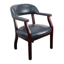 """Flash Furniture - Navy Vinyl Luxurious Conference Chair - This elegant reception/conference chair features upholstered arms, a contoured back, a solid hardwood mahogany frame, and individual brass nail head trimming. This chair will complement reception areas, libraries or your office as a guest chair.; Traditional Captain's Chair; Open Back Design; Navy Vinyl Upholstery; Brass Nail Trim on Arms and Seat; Upholstered Arms; Solid Hardwood Mahogany Frame; Meets and/or Exceeds all ANSI/BIFMA Standards; Assembly Required: Yes; Country of Origin: China; Warranty: 2 Years; Weight: 29 lbs; Dimensions: 30""""H x 24""""W x 25""""D"""