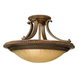 Feiss - Kelham Hall Firenze Gold/British Bronze Semi-Flush - Charming design, exquisite taste, and classic detail inspire this European style collection. Stunning curved arms are hand finished with delicate features. India scavo glass bloom at its opening to create a lovely glow.  -India Scavo Glass  -Canopy Dimensions: 6 Round Feiss - SF262FG/BRB