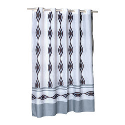 """EZ-ON """"Harlequin"""" Polyester Shower Curtain - """"Ez On"""" Fabric shower curtain with built in shower curtain hooks:  size 70"""" wide x 72"""" long; pattern name """"Harlequin"""". Give your bathroom a bold, modern appeal without any added frustration with our EZ-ON """"Harlequin"""" Shower Curtain (standard size 70'' wide x 75'' long). Using patented Hookless technology, our EZ-ON curtains come with built in flat top rings that simply snap on to your existing shower curtain rod--pesky hooks no longer required. Additionally, this 100% polyester curtain resists water and is machine washable. """"Harlequin"""" is available in extra long, extra wide, and shower stall sizes.   Machine wash in warm water, tumble dry, low, light iron as needed"""