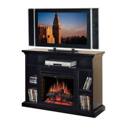 Fireside Distributors - 28 in. Media Electric Fireplace in Brown Wood Veneer Finish - Bring elements of warmth and style to your home's decor with this inviting electric fireplace, enhanced by media storage for added function. The unit, sized perfectly to hold an small flat screen TV, has an LED flame insert that operates with or without heat and is constructed of hardwood solids and wood veneer in a rich brown finish. Multi-function remote control included. TV and accessories not included. Hand-painted smoked fire brick detail side panels. LED flame with rolling and pulsating effects. Operates with or without heat. Five flame and heat settings. Function glass doors with center mount pull. Glass stays cool to the touch. Retractable metal mesh curtain. Thermostat controls room temperature automatically. 1350 Watt/4600 BTUs forced air heater. Constructed from solid hardwoods and wood veneers with hand-carved accents & multi-step finish process. 1-Year CSA approved warranty. Interior Dimensions: 7.75 in. W x 14.25 in. D x 10.75 in. H. Shelf: 43 in. W x 15 in. D x 6 in. H. Overall: 48 in. W x 17 in. D x 35 in. H (150 lbs.)Electric Fireplace Media Center features a shelf for electronic media components. Hand wire management channels. Beautiful and substantial tiered molding top to support today's televisions and fully open storage with adjustable shelves for CDs and DVDs.