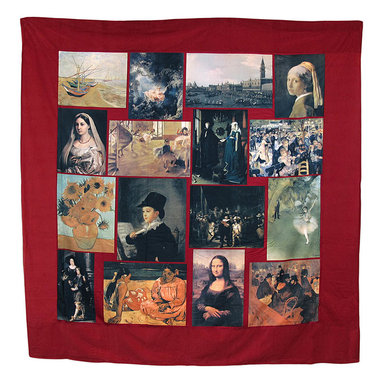 Zeckos - Famous Art Masterpieces Shower Curtain 72 In. x 72 In. - Add an inspirational, artistic element to your bathroom with this shower curtain. It features 16 panels of famous masterpiece works of art in a collage on a red background. The shower curtain is 100% polyester and recommended care instructions are to hand wash in cool water and tumble dry on low heat. The curtain measures 72 inches wide by 72 inches long.