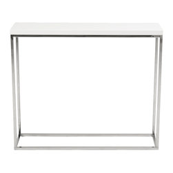 Eurostyle - Teresa Console Table-White/Stainless - You spent a great deal of time picking out just the right style sofa. This elegant console table has a quiet presence that won't take away your focus. The smooth lines of the polished steel base and lacquered top create a functional table without overpowering your main furniture pieces.
