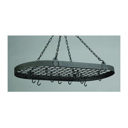 Old Dutch International - 36 in. Pot Rack with 12 Hooks - Hanging pot rack. Made from sturdy powder coated steel. Oval shape. Graphite color. 36 in. L x 18.25 in. W x 3.5 in. H (13 lbs.). Includes grid, chains and mounting hardware