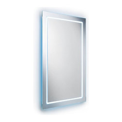 """WS Bath Collections - Speci 27.6"""" x 31.5"""" LED Light Mirror - Speci 5680 Framed Wall-Mount Mirror with LED Lighting, Made in Italy"""