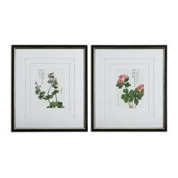 Uttermost - Uttermost 41513 Asian Flowers Framed Floral Art Set - Uttermost 41513 Asian Flowers Framed Floral Art Set