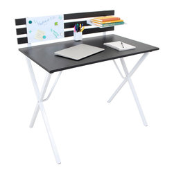 LumiSource - Organizer Home Office Desk - With its black wood finish,the Organizer Desk helps you get organized with ample desktop space,shelving,and a dry erase board.