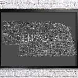 Nebraska Map - 18x24in print. Frame (not) included.