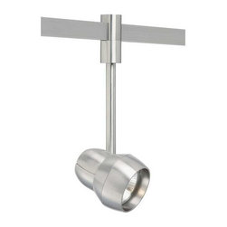 Tech Lighting - T-Trak OM Incandescent PAR30S Head - T-Trak OM PAR30S head is made of die cast aluminum and pivots vertically 180 degrees and rotates horizontally 350 degrees. Features vertical and horizontal locking mechanisms. Available in White or Satin Nickel finish with Frost trim or Solid Metal shade. Requires one 120 volt PAR30S short neck medium base lamp up to 75 watts, not included. Available in 3, 6, 12 and 18 inch stem lengths. For use on T-Trak line voltage track system. Head is 4.5W X 5.3L.