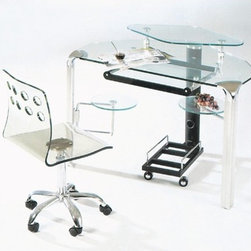 Creative Images International - Glass Corner Computer Desk - Features: -Clear glass.-Distressed: No.-Collection: Glass.Dimensions: -Dimensions: 43'' Height x 24'' Width x 34'' Depth.-Overall Product Weight: 110 lbs.