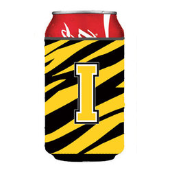 Caroline's Treasures - Letter I Initial Monogram - Tiger Stripe - Black Gold Can or Bottle Hugger - Can Cooler - this collapsible koozie fits 12 ounce beverage. Cans or bottles. Permanently dyed and fade resistant. Will not crack or peel. Great to show off your breed. Match with one of the insulated coolers for a nice gift pack.