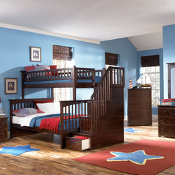 Atlantic Furniture - Antique Walnut Columbia Staircase Bunk Bed, Twin/Full - This Columbia Staircase Bunk Bed with Storage by Atlantic Furniture will surely become a favorite sleepy time fort and you can feel good about the quality and value. It has classic mission styling that is constructed in solid eco-friendly hard rubber wood. The Columbia Staircase Bunk Bed with Storage is available in three durable finishes  antique walnut, caramel latte or white. Designed to combine ease of use and space efficiency, the staircase section comes with four fully assembled drawers for extra storage. In addition, the stairs with built in handrail are easier to climb then the standard bunk bed ladders. It can be set up at either end of the bed. With its 26 steel reinforcement points and two 14 piece slat kits, this bed is as sturdy as they come. It is available in a twin-over-twin size which measures 69 H x 44.375 W x 103 D, or a twin-over-full size which measures 69 H x 58.375 W x 103 D. Both sizes can accommodate up to 400 lbs. The mattresses are not included and are recommended to be no higher than 9. Assembly is required. With so many sleep options the Columbia Staircase Bunk Bed with Storage creates convenient space in your child's room. Features: -Staircase can be set up at either end of the bunk bed.-Staircase chest comes Fully assembled in two boxes.-Bed accommodates up to a 9.05'' mattress.-High build five step.-Safety by design.-Eco friendly.-ASTM and CPSC certified.-Solid hardwood construction.-Mortise and tenon construction.-Durable, non toxic and lead free finish.-Columbia collection.-Collection: Columbia.-Distressed: No.Dimensions: -Twin over Twin dimensions: 69'' H x 44.375'' W x 103'' D.-Twin over Full dimensions: 69'' H x 58.375'' W x 103'' D.-Overall Product Weight: 398 lbs.Warranty: -Manufacturer provides one year warranty.