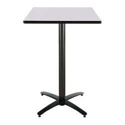 KFI Seating - 42 in. High Square Pedestal Table w Arched Ba - Finish: 36 in. L x 36 in. W-Grey NebulaSquare bar height pedestal table. High pressure laminate top with a t-mold edge. Arched base and column are powder-coated black and made of steel. Pictured in Grey Nebula top finish. Height: 42 in. H