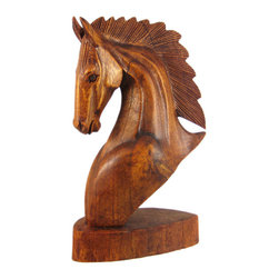 12 Inch Mahogany Horse Head Bust Wooden Statue - This stunning 12 inch tall horse head statue is hand-crafted in Indonesia from mahogany wood. The statue measures 12 inches tall, 7 inches wide, and 3 inches deep. The wood is hand sanded and hand-rubbed with stain and oils to keep it looking great for a lifetime. This statue makes a great gift for horse lovers. We have a limited number of these, so don`t miss out. Get yours now!