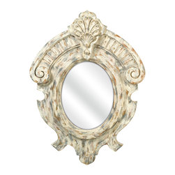 iMax - Fleming Rustic Mirror - This rustic French inspired mirror's ornate look gives any room a refined appearance.