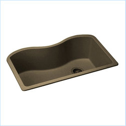 "Elkay - Elkay ELGUS3322RMC0  Harmony E-Granite Sink - Elkay's ELGUS3322RMC0 is a Harmony E-Granite Sink. This single-bowl sink is molded from Elkay's E-Granite which consists of up to 85% natural quartz and high performance acrylic resins. It features a 9-1/2"" bowl depth and a 3-1/2"" drain opening. This sink comes in a beautiful Mocha finish."