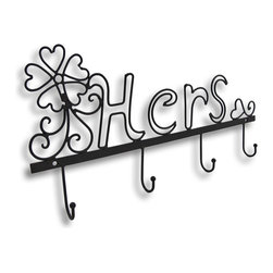 "Zeckos - Metal ""Hers"" Wall Hook - Claim your space with this whimsical ""Hers"" wall hook The curvy and swirly design adds fanciful flair to your decor Mount this on your closet door to hang belts, scarves and purses It measures 18 inches wide, 9 3/4 inches tall, and 1 3/8 inches deep. This would be an excellent way for a teen to hang jewelry and hair accessories, too"
