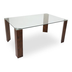 Bryght - Eric Glass Cocoa Dining Table - The Eric glass dining table, with its uniquely designed thick triangular legs exudes strength and stability, while its beautiful tempered glass top lends it a modern minimalist feel