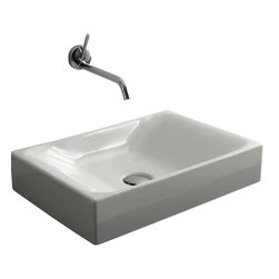 WS Bath collections - Cento 3555 Ceramic Sink - Do something a little different in your WC. This sleek ceramic basin, designed by Marc Sadler of Italy, fits its faucet into the wall for a true style statement.