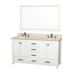 """Wyndham Collection - Abingdon Double White with 1 56"""" Mirror and White Undermount Porcelain Sinks - Distinctive styling and elegant lines come together to form a complete range of modern classics in the Abingdon Bathroom Vanity collection. Inspired by well established American standards and crafted without compromise, these vanities are designed to complement any decor, from traditional to minimalist modern. Dimensions: 61 in."""