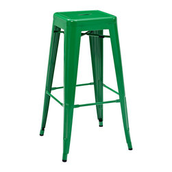 Crosley Furniture - Crosley Furniture Amelia Metal Cafe Barstool in Green - Set of 2 - Originally made famous in the quaint bistros of France, these midcentury replicas of original Cafe seating will offer a dose of nostalgia combined with careful consideration for your wallet.  This inspired revival evokes a sense of a true vintage find. (Sold in Pairs)