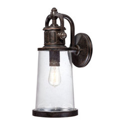 Quoizel Lighting - Quoizel SDN8408IB Steadman 1 Light Outdoor Wall Light, Imperial Bronze - This fixture gives the exterior of your home both beauty and an industrial sense of design. It features a Victorian Edison-style bulb for a historic look and is enhanced by the clear seedy glass. The Imperial Bronze finish completes the look.