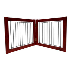 Welland - Welland Wood and Steel Designer Indoor Pet Gate, Light Cherry, Light Cherry, 36- - The panels of the folding Pet Gate slide to allow a range in length that accommodates a wide variety of doorways and openings. The elegant pine wood used for this product looks great in any room. The height of this pet gate is low enough to step over for ease of movement from room to room.