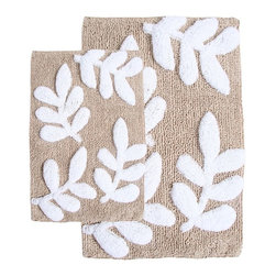 None - Monte Carlo Cotton Taupe and White 2-Piece Bath Rug Set - Step out of the shower or bath and onto the soft luxury of this 100-percent cotton bath rug set. The mats in this taupe-and-white set feature an all-over botanical print and are luxurious underfoot to warm your cold feet in the bathroom.