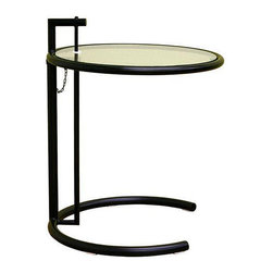 Jago Black Glass Adjustable End Table - This knock-off of the Eileen Gray side table is essential to any entertaining you may do in your home. Use it every day as a side table, and it doubles as a cocktail table when raised.