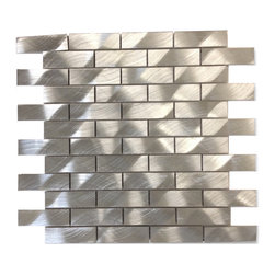 """GlassTileStore - Industrial 1x3 Silver Aluminum Tile - Industrial 1x3 Silver Aluminum Tile          Give your kitchen backsplash that stylish modern look with our Industrial Aluminum tile. Whether using this stunning tile as a back splash wall, or as an accent piece, the silver aluminum tile will give your room a classic and contemporary setting. Add a small touch of """"wow"""" to any room.          Chip Size: 1""""x3""""   Color: Silver    Material: Aluminum   Finish: Brushed   Sold by the Sheet - each sheet measures 12"""" x 12"""" (1 sq. ft.)   Thickness: 8mm   Please note each lot will vary from the next.            - Glass Tile -"""