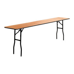 "Flash Furniture - 18"" x 96"" Folding Training / Seminar Table with Clear Coated Finished Top - This wood folding table is very useful since it can be instantly stored and is easy to carry at the same time. This durable table was built for constant use in hotels, banquet rooms, training rooms and seminar settings. Not only is this table durable enough for the everyday rigors of commercial use this table can be used in the home when it comes to setting up your own personal party plans."