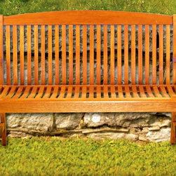 Achla - Slat Back Park Bench - Wood - The golden tones and beautiful design of this park bench compliments the slat back and seat.  The beautifully curving arms are comfortable and also attractive and welcoming.  Place this elegant and appealing bench in the garden or on the patio for a comfortable and attractive seating for enjoying the outdoors.  This park bench has an attractive and comfortable design, which will be a talking point for guests and a superb centerpiece to any garden or patio.  Enjoy the simple luxury and appeal of this lovely outdoor park bench with slat back. * Eucalyptus Grandis Construction. 49 W x 20 D x 35 H in.
