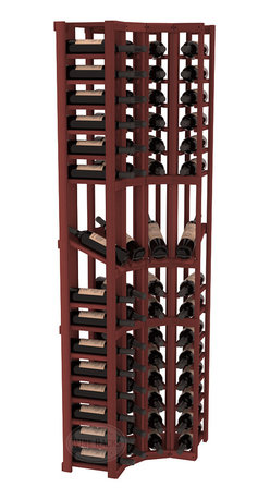 Wine Racks America® - 4 Column Display Cellar Corner in Redwood, Cherry Stain - Unique corner wine racks obtain maximal storage capacity with style. Display 4 coveted vintages without sacrificing proper wine storage. We back the quality of every rack with our lifetime warranty. Designed with emphasis on functionality, these corner racks fit seamlessly into our modular line of wine racks.