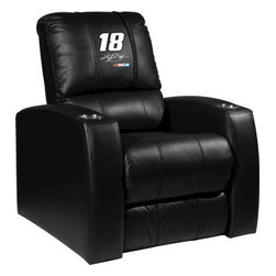 Dreamseat Inc. - Kyle Busch #18 NASCAR Home Theater Leather Recliner - Check out this Awesome Leather Recliner. Quite simply, it's one of the coolest things we've ever seen. This is unbelievably comfortable - once you're in it, you won't want to get up. Features a zip-in-zip-out logo panel embroidered with 70,000 stitches. Converts from a solid color to custom-logo furniture in seconds - perfect for a shared or multi-purpose room. Root for several teams? Simply swap the panels out when the seasons change. This is a true statement piece that is perfect for your Man Cave, Game Room, basement or garage. It combines contemporary design with the ultimate comfort from a fully reclining frame with lumbar and full leg support.