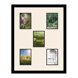 ArtToFrames - ArtToFrames Collage Photo Frame  with 5 - 5x7 Openings - This classic Satin Black, 1.25 inch thick collage frame, comes equipped with a setup for 5 - 5x7 photos of your choice. This collage is part of a compilation collage frame compilation and boasts a vast line of durable frames at a affordable price tag you can gloat about! Homespun and constructed to suit your photos making sure you 5 - 5x7 art will fit right in. Bordered in a brilliant Satin Black, flawless frame and surrounded by a sophisticated Chantilly mat, the collage arrangement most definitely showcases your original prized artwork, and wonderful memories in an entirely incredible and vivid way. This collage frame comes protected in Styrene, ready with proper hardware and can be hung up with ease. These superior quality and raw wood-based collage frames change in style and size specifics; all in contemporary and modern design. Mats are available in a assemblage of color tones, openings, and shapes. It's time to tell your story! Preserving your holding onto your memories in an original and artistic new way has never been easier.