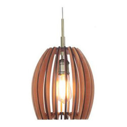 Woodbridge Lighting - Crescendo Woodwork Pendant - Rhythmic reverberations and a symphony of streaming light are the hallmark of the 'Crescendo' pendant.  The slatted shaping of this driving design surrounds the power of a warm inner glow and the resulting harmonious effects sing with rich tones and vibrant visuals. Superb task lighting and a strong ambient effect make this fixture a preferred option for almost any location. Available in cherry or wenge wood shade options with the choice of brass or bronze finishes. One 75-watt, 120 volt A19 medium base incandescent bulb is required, but not included. Dimensions: 9W x 72H. Includes 6 feet of adjustable cord and canopy.
