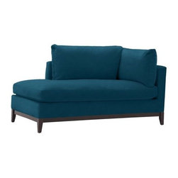 Blake Chaise, Performance Velvet, Lagoon - This beautiful blue looks so comfortable. I love the simple lines and that fact that it is modern without being stiff.