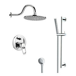 Remer - Round Polished Chrome Rain Shower Faucet with Slide Rail - Single function shower faucet.