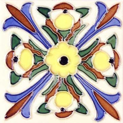 "Glass Tile Oasis - Florero 6"" x 6"" Yellow 6"" x 6"" Deco Tiles Glossy Ceramic - All ceramic tiles are hand painted. Glazed thickness will vary from tile to tile, resulting in color variation. Hand-Painted Ceramic tiles will craze and crackle over time, which is intentional and a desired effect."