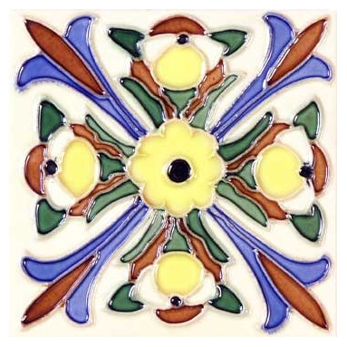 """Glass Tile Oasis - Florero 6"""" x 6"""" Yellow 6"""" x 6"""" Deco Tiles Glossy Ceramic - All ceramic tiles are hand painted. Glazed thickness will vary from tile to tile, resulting in color variation. Hand-Painted Ceramic tiles will craze and crackle over time, which is intentional and a desired effect."""